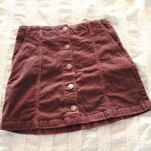 Deep Purple Corduroy Mini Skirt